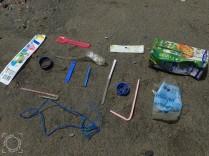 Muestra plásticos playa